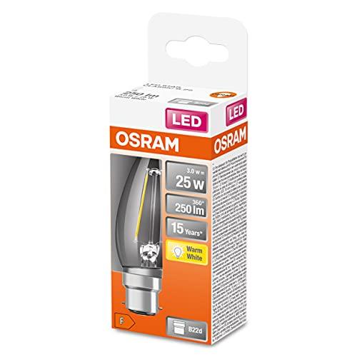Osram Lampada LED, Attacco: B22d, Warm White, 2700 K, 2,50 W, sostituzione per 25 W Incandescent bulb, chiaro, LED Retrofit CLASSIC B ,Confezione da 10