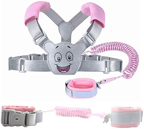 Evedaily Baby Reins Walking Harness for Toddlers, Kids, Children, 3-in-1, Anti Lost Safety Wrist Cuff with Lock + Backpack + 2.5m Bungee Straps Link (Pink)