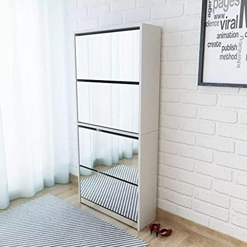 LIUBIAONET Förvaringsorganisationssystem skoskåp med 4 fack spegel vit 63 × 17 × 134 cm