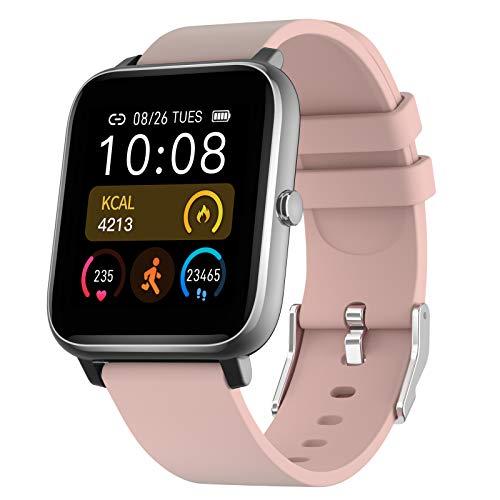 Smartwatch, Reloj Inteligente Hombre Mujer niños, Impermeable Rastreador de Actividad con Monitor de Pulso Cardiaco, Reloj Inteligente con Control Bluetooth Android iOS (Rosa)