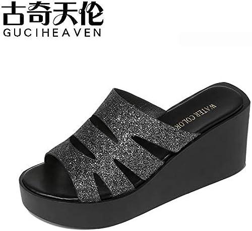 GTVERNH Chaussures Femmes Les Pantoufles La Pente des Talons 7Cm Talons Hauts Summer Mode Vêtements Chaussures pour Femme