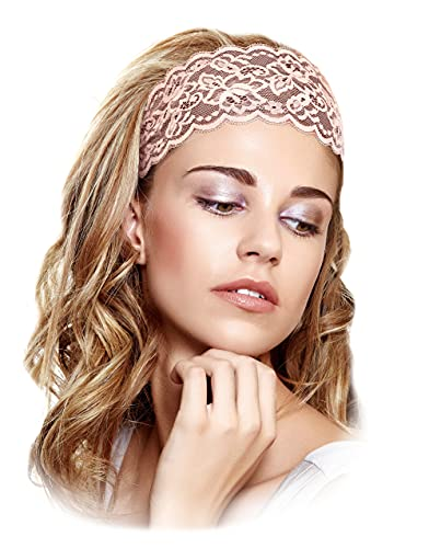 Pink Floral Lace Headbands Vintage Stretch Champagne Pink Lacey Handmade ShariRose (Blush pink)
