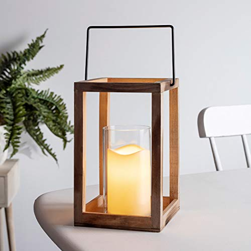 "Lights4fun, Inc. 9.5"" Wooden Battery Operated Indoor LED Flameless Candle Lantern with Glass Candle Holder"