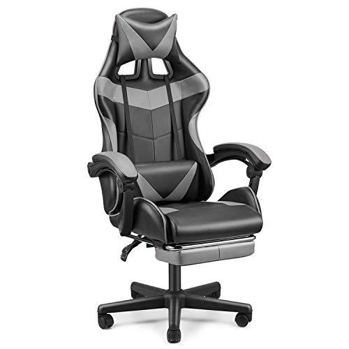 Soontrans Gaming Stuhl Bürostuhl Ergonomischer Schreibtischstuhl mit Fußstütze, Höhenverstellbar, mit Kopfstütze und Lendenkissen, 90-135° Neigungswinkel, bis 150 kg Belastbar (Grau)