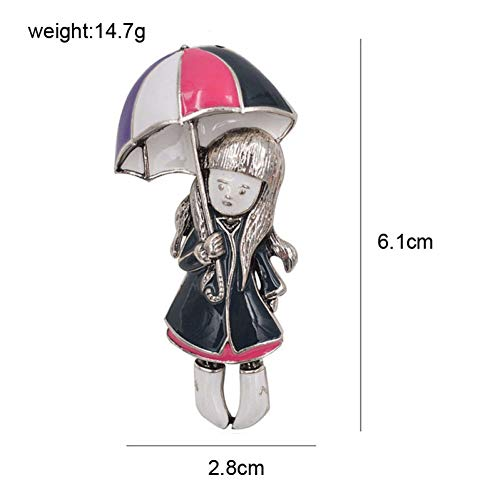 ERDING Brooch/Accessoires/Meisje Onder Paraplu Broches Voor Vrouwen Emaille Pins Zomer Sieraden Jas Jurk Broches Bijouterie Badges Gift