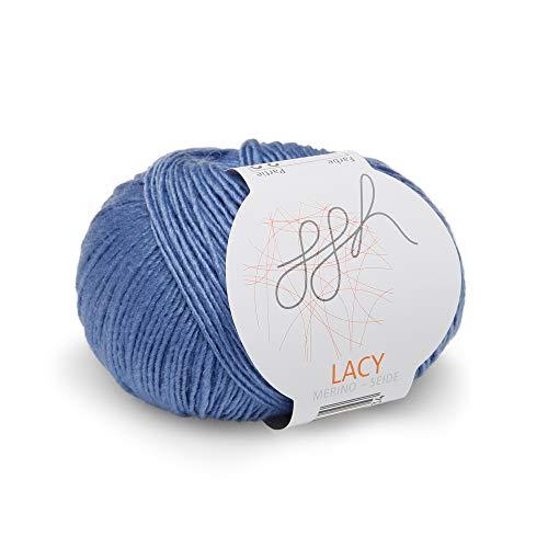ggh Lacy, Farbe:021 - Blau, Merinowolle, Seide Mischung, 25g Wolle als Knäuel, Lauflänge ca.150m, Verbrauch 225-250g, Nadelstärke 3-4, Wolle zum Stricken und Häkeln