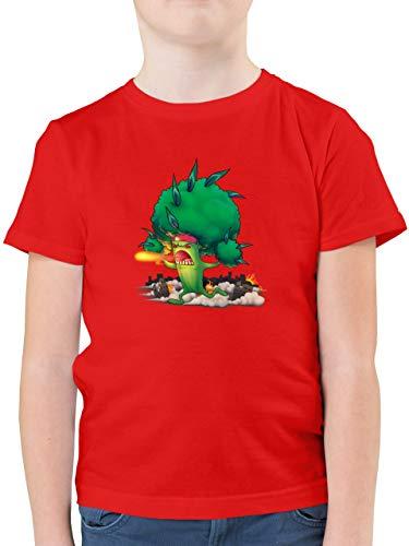 Up to Date Kind - Brokkoli Monster - 164 (14/15 Jahre) - Rot - Feuer - F130K - Kinder Tshirts und T-Shirt für Jungen