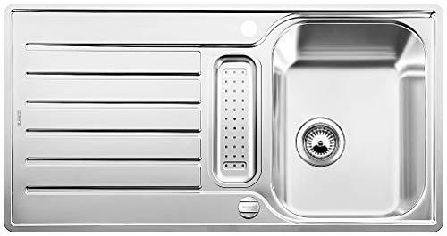 BLANCO LANTOS 5 S-IF – Küchenspüle für 50 cm breite Unterschränke – Mit IF-Flachrand und Ablauffernbedienung – Edelstahl-Bürstfinish – 517281
