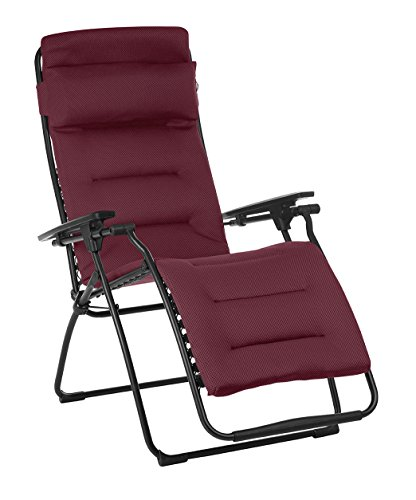 Lafuma Futura Air Comfort Zero Gravity Recliner (Bordeaux Red) Padded Folding Outdoor Reclining Chair