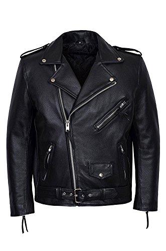 SR Real Leather Negan Chaqueta de Cuero Verdadero con Flecos para Hombre Color Negro Piel de Vacuno Estilo Motero Casual Ideal para La Moda de la Ciudad Super Trendy (2XL)