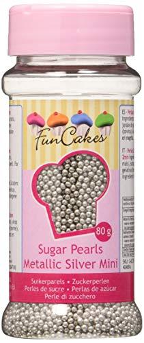 FunCakes Decoraciones de Perlitas de Azúcar Color Plata Metalizada de 2mm de Grosor para Decorar Tartas, Cupcakes, Galletas, Helados y otros Dulces 80g G42730
