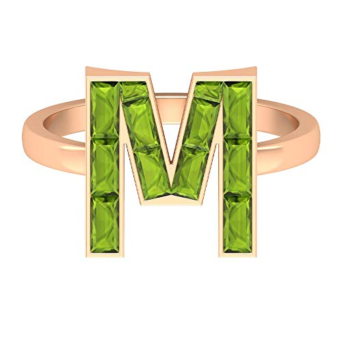 M Alphabet Ring, Personalize Initial Ring, August Birthstone Ring, 1.7 CT Peridot Wedding Ring, Anniversary Ring, Letter Name Ring (AAA Quality), 14K Rose Gold, Size:UK -1