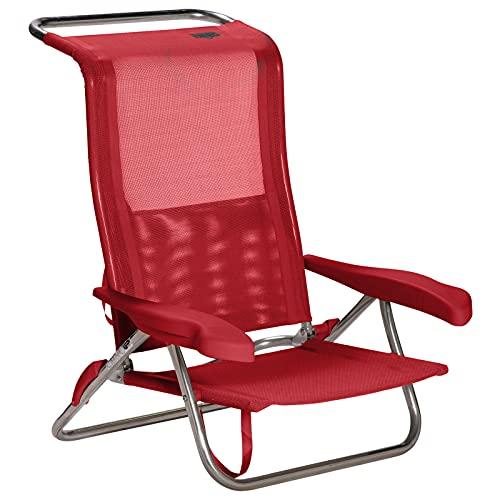 Crespo Strand Stuhl AL 222 Camping Klappstuhl Liege Sessel Leicht Alu Faltbar Rot