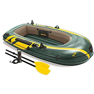 LWZ 2-Persona Kayak Inflable con Paddle, Unisex Aventura Plus Canoa Inflable Kayak de Mar