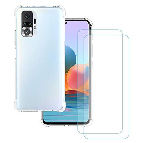 KZIOACSH Funda para Xiaomi Redmi Note 10 Pro + [2 Pack] Cristal Templado,Ultra Fina Silicona TPU Carcasa,Cuatro Esquinas Anti-caíd Protección,Transparente