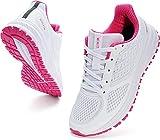WHITIN Zapatillas de Deporte Mujer Zapatos para Correr Calzado Deportivo Zapatillas de Running Sneaker Transpirable Gimnasio Bambas Ligero Cómodo Rosa Blanco 38