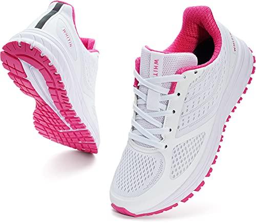 WHITIN Laufschuhe Damen Joggingschuhe Straßenlaufschuhe Turnschuhe Sportschuhe Gym Schuhe Walkingschuhe Fitnessschuhe Leichte Bequem Alltagsschuh Sneakers Sommerschuhe Pink Weiß 39 EU