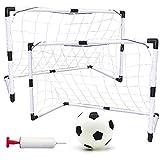 Portería de Fútbol Plegable de 2 Piezas Jaula de fútbol Infantil Pop UP Soccer Goal Net con Fútbol y Bomba Football Goal Set para jardín, Playa, Juegos al Aire Libre