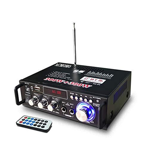 600W Mini Amplificador Audio BT, HiFi Audio Estéreo Amplificador 2CH Pantalla LCD...