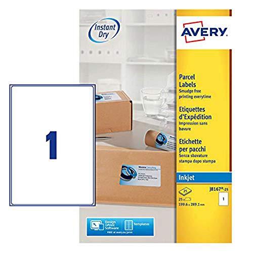 AVERY Zweckform schnelltrocknende Adressetiketten für Tintenstrahldrucker 1 pro Blatt 199,6 x 289,1 mm z25 Etiketten weiß
