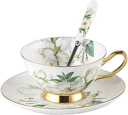 K/üche f/ür Zuhause Lifattitude Tasse und Untertasse im Euro-Stil aus Knochenporzellan Blumen Meer Hochzeit f/ür Tee und Kaffee Keramik