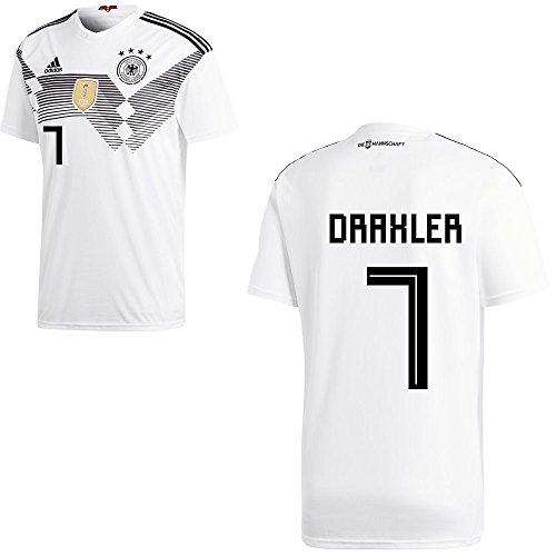 adidas DFB Deutschland Fußball Trikot Home Heimtrikot WM 2018 Herren Kinder mit Spieler Name Farbe Draxler, Größe M
