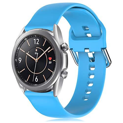 RIOROO 20mm Correa Compatible para Samsung Galaxy Watch 3 41mm / Active / Active 2 40mm 44mm Correa Mujer Hombre Sport Silicona Band Cielo azul, Accesorios (sin Reloj), L