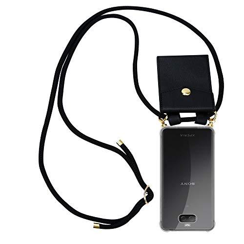 Cadorabo Handy Kette für Sony Xperia 10 in SCHWARZ - Silikon Necklace Umhänge Hülle mit Gold Ringen, Kordel Band Schnur & abnehmbarem Etui – Schutzhülle