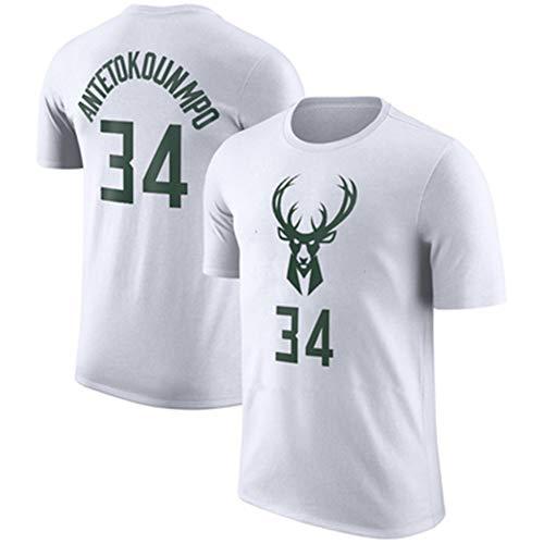 AZHom Número de Apariencia de Camiseta de algodón de Manga Corta de Bucks Letter Camiseta NBA para Hombre (Color : White, Size : XXXL)