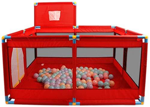 XKCET Baby Game Park Gate Safety Area Zone De Jeu Enfants Enfants Centre D'Activités Respirant Garde-Corps pour Bambin Rampant pour Intérieur en Extérieur (Hauteur, 66 Cm), Rouge, B-128X128X66Cm