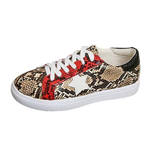 Zapatillas de Mujer Zapatos Plano Respirable Confortable Zapatos Deportes Patrón de Estampado de Serpiente Zapatos Casuales con Cordones