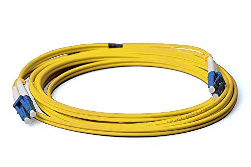 Cable de fibra óptica LWL, 15 m, OS2 amarillo, LC a LC...