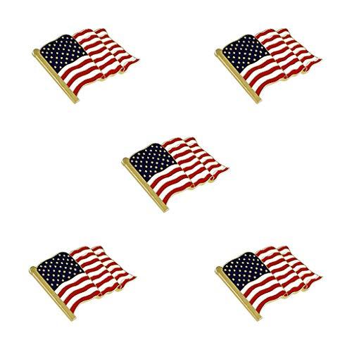 Fagu 5 Piezas ondeando Bandera Americana Esmalte Pin de Solapa Broche patriótico con Orgullo joyería