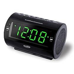 JENSEN JCR-210 AM/FM Digital Dual Alarm Clock Radio with Nature Sounds