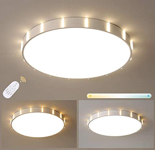 Lámpara de estar de la luz del techo LED regulable con control remoto Lámpara de techo moderna Diseño redondo Iluminación de techo Restaurante Dormitorio Dormitorio Metal blanco Anillo ultrafino Acríl