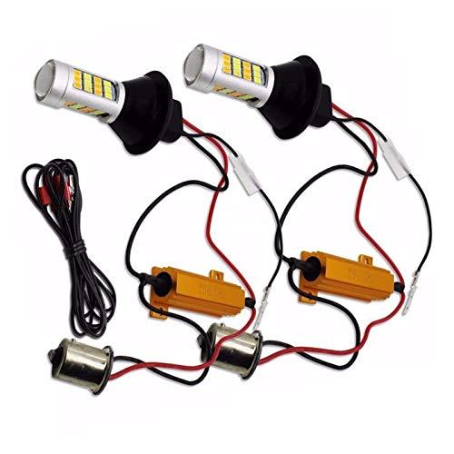 SSGLOVELIN Para iluminación de automóviles 2 unids 1156 de Alta Potencia de Doble Color, Bombilla LED P21W S25 BA15S 2835 42LED lámpara de señal de Giro en ejecución Diurna