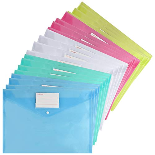 20pcs Cartelle Documenti in Plastica, Cartella Buste per File A4, Portadocumenti Chiusura a Bottone con Tasca Etichetta, Cartelline Colorate Trasparenti per Ufficio Scolastico,Affari,Libri,Immagini