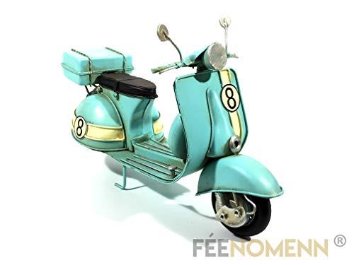 FEENOMENN - Scooter de Metal Vintage – Antigua Vespa Azul Cielo número 8 27 x 10,5 cm