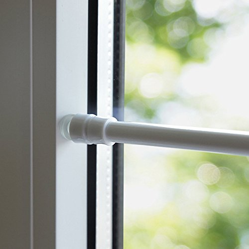 Klemmfix Klemmstange für Fenster Tür Gardine Länge 60-90 cm ausziehbar Scheibenstange ohne Kleben - weiß