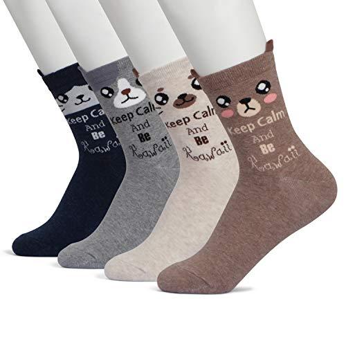 Happytree - Pack de 3 o 6 pares de calcetines con divertidos motivos de caras de animales....