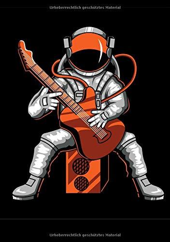 Gitarren Songbook zum selber schreiben: Songbook Notenheft zum selber eintragen Griffe, Akkorde, Noten Strand Gitarre für Jugendliche Astronaut mit Rockgitarre