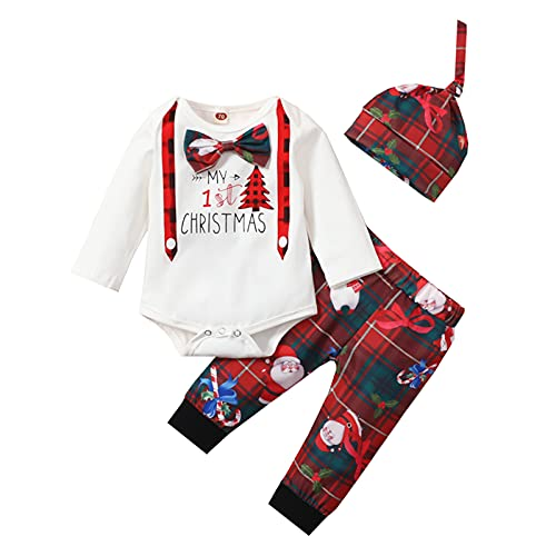Newborn Baby Boy New Year Clothes My First Christmas Romper Outfits Christmas Print Long Pant Hat 3pcs Outfits Set (White Red, 80)