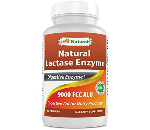 Best Naturals Lactose Intolerance Relief Tablets with Natural Lactase Enzyme, Fast Acting High Potency Lactase, 9000 FCC ALU, 90 Count