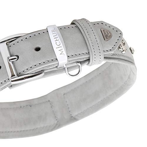 MICHUR Tipico Hundehalsband Leder, Lederhalsband Hund, Halsband, Grau, Leder, mit Lilien, Strasssteinen und großem Michur Stein, in verschiedenen Größen erhältlich