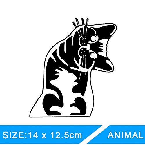 CTMNB Autostickers, 14 cm x 12,5 cm, grappige kop tilt kat sticker voor auto, ramen, achterkant, grafiek, waterdicht, dieren, styling, accessoires