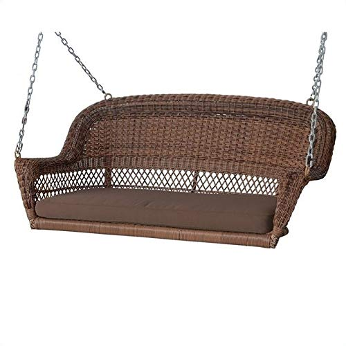 Pemberly Row Honey Wicker Porch Swing with Brown Cushion