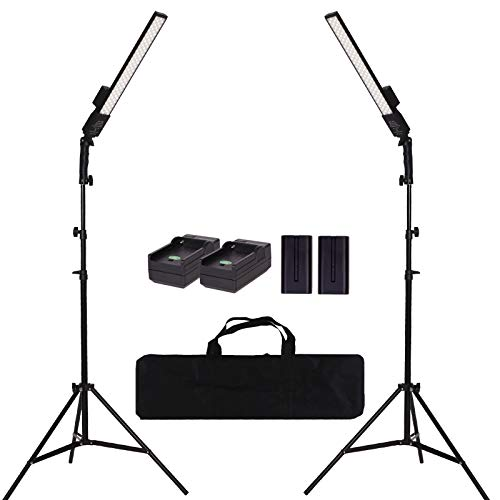 GSKAIWEN LED Video Light Battery Powered Photography Light Portable Handheld Wand,Dimmable 2800-5500K Photo Studio Light Kit with NP-970 Li-ion Battery and Stand for Portrait, YouTube,Outdoor Video