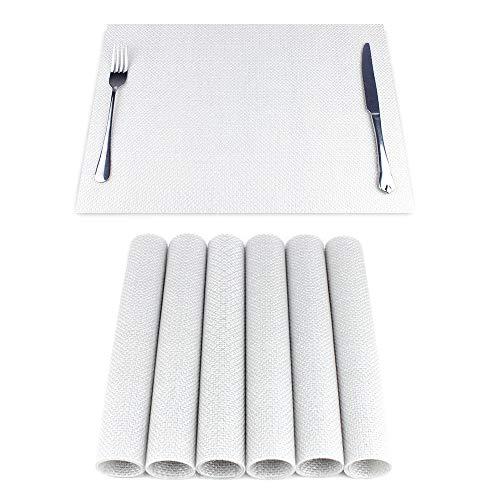 Jiaer Sentai 6er Set Platzsets Hitzebeständiges rutschfestes Antifouling waschbares PVC Tischset für Küche, Zuhause und Restaurant Silber