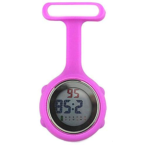 HANXIAO Taschenuhren Taschenuhr Mode Damen Digitalanzeige Zifferblatt Fob Krankenschwester Brosche Pin HangElectric Uhr Fob Uhren reloj de bolsillo D, Lila Rot