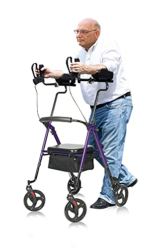 """ELENKER Upright Rollator Walker, Tall Stand Up Rolling Walker & Walking Aid with PU Foam Seat and Oversize Storage Basket for Seniors from 4'8"""" to 6'4"""", Purple"""